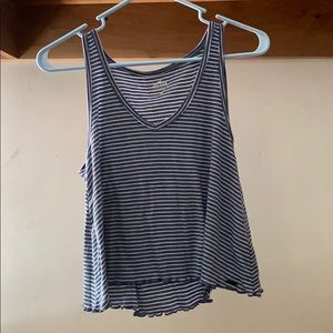 Blue and White Striped Hollister V-Neck Crop Top